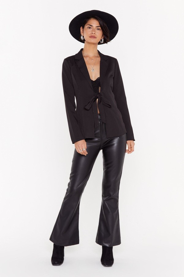 Womens Let 'Em Stop and Flare Faux Leather trousers - black - L