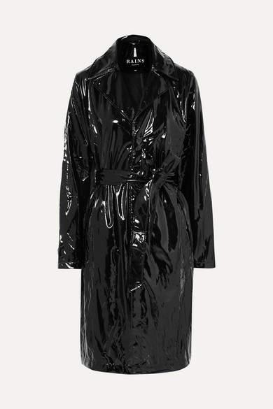 Rains - Glossed-pu Trench Coat - Black