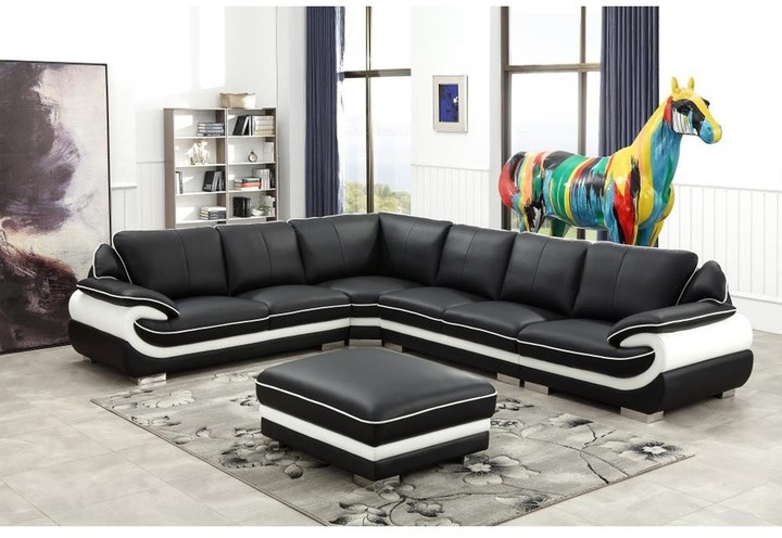 overstock black and white modern contemporary real leather sectional living room furniture set with ottoman