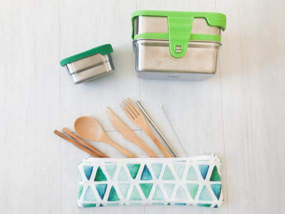Zero Waste Kit Stainless Containers and Reusable Utensils