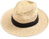Contrast Band Braided Beach Hat