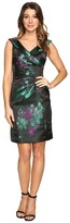 Tahari by ASL Floral Printed Satin Portrait Collar Sheath with Side Ruche