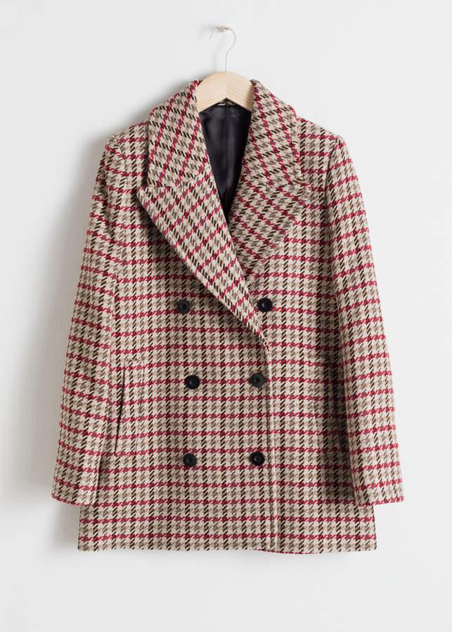 Wool Blend Houndstooth Coat