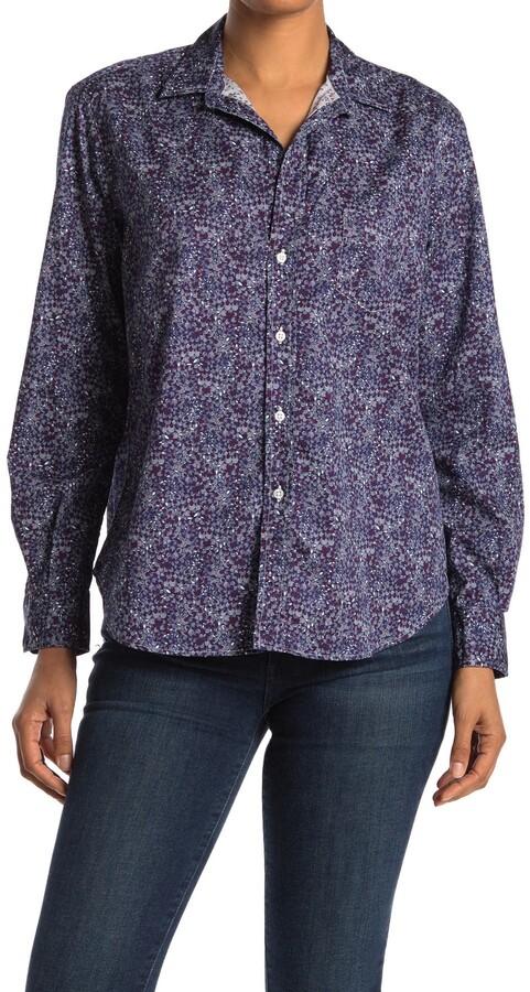 eileen printed woven button up shirt