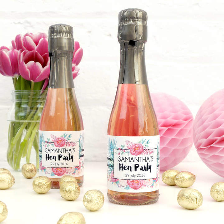 Peach Blossom Personalised Floral Hen Party Bottle Labels
