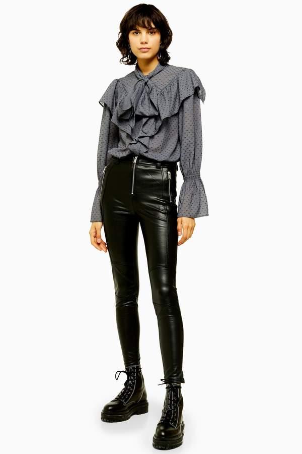 Topshop Womens Idol Black Skinny Biker Faux Leather Pu Trousers - Black