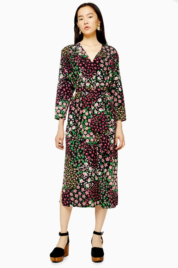 Topshop Womens Multicoloured Floral Print Tie Smock Wrap Dress - Multi