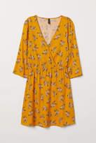 H&M - V-neck Wrap Dress - Yellow