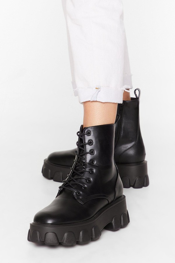 Nasty Gal Womens Things Just Got Cleated Platform Faux Leather Boots - black - 8