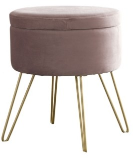 ornavo home posh habitat by ornavo modern round velvet storage ottoman with gold metal legs tray top coffee table