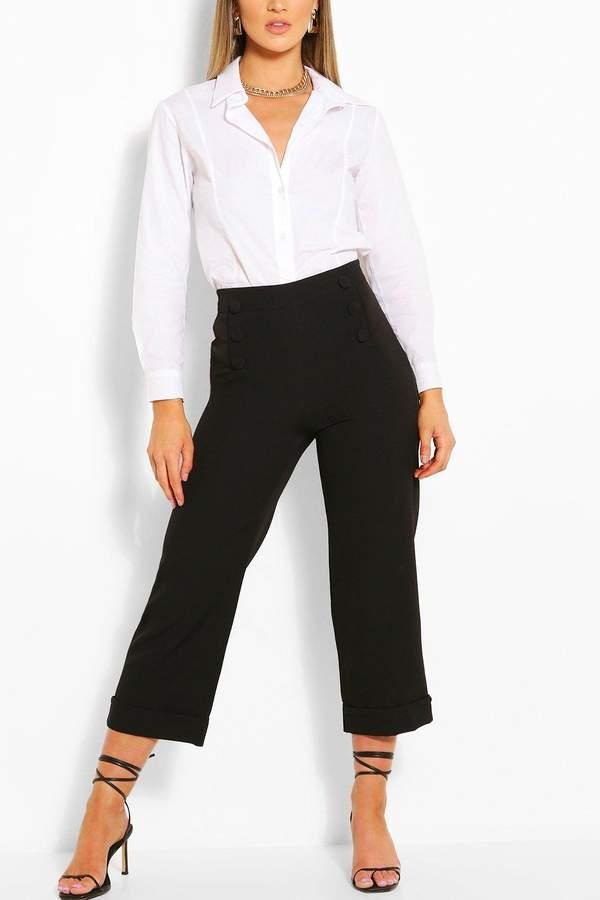 Tailored Button Wide Leg Culotte