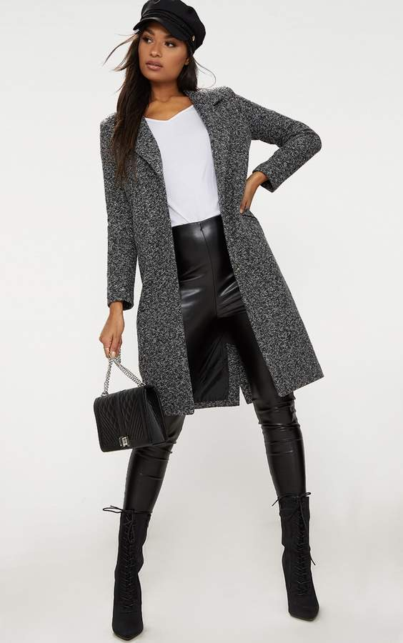 Grey Longline Wool Coat
