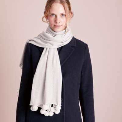 The White Company Sparkle Pom-Pom Scarf