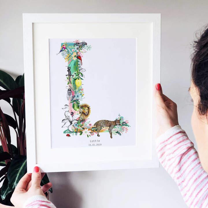 Charlotte Jones Design Personalised J To S Pastel Wildlife Letter Print