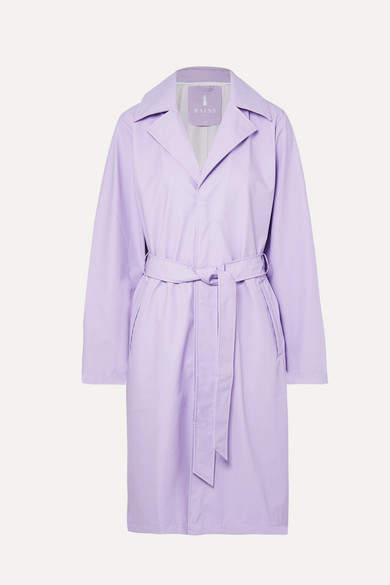 Rains - Matte-pu Trench Coat - Lilac