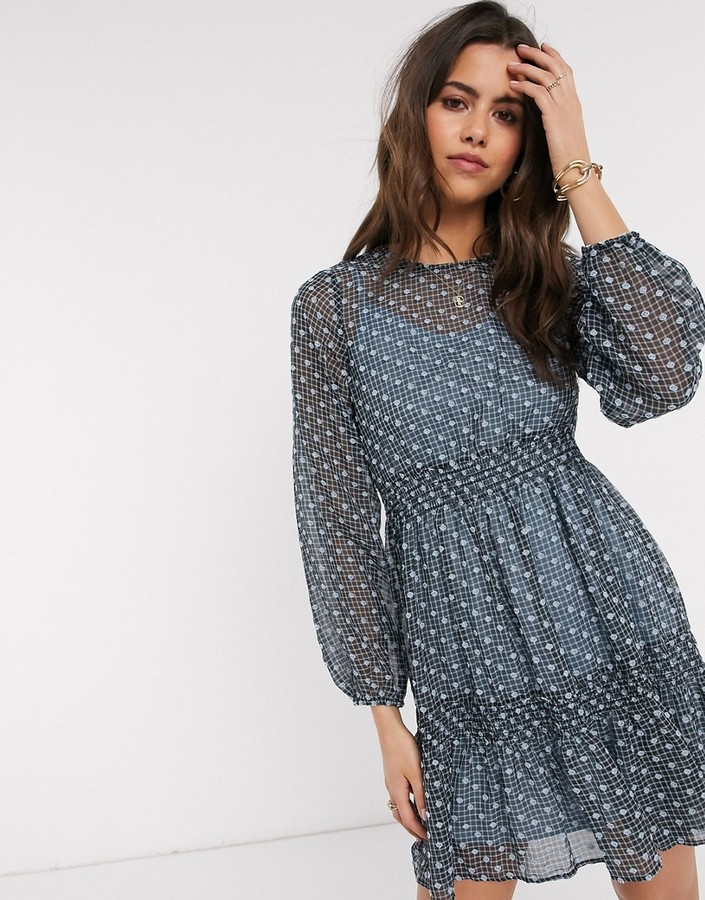 Vero Moda tiered mini dress with embroidered overlay in blue