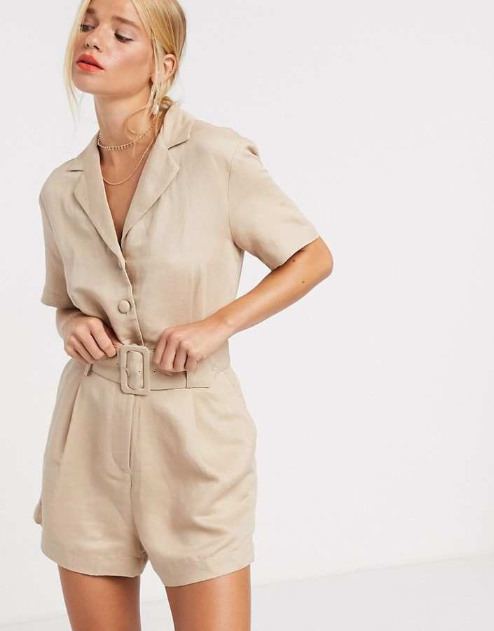 & Other Stories belted utility playsuit in beige
