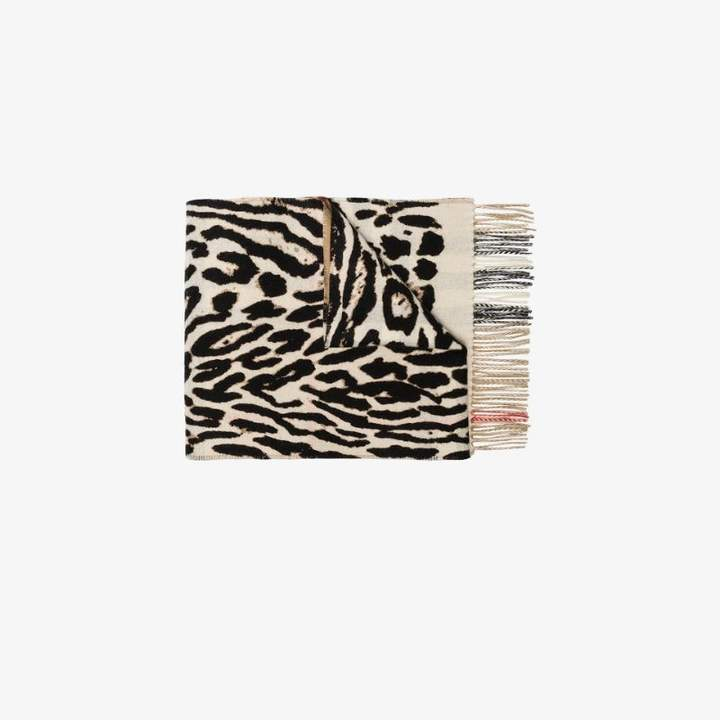 Burberry Womens Black Multicoloured Reversible Cashmere Scarf