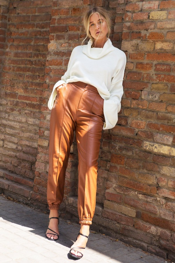 Womens Faux Leather Cuffed Seam Joggers - Brown - 6