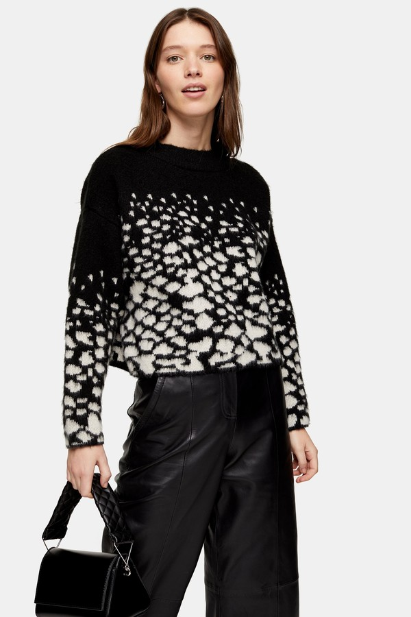 Topshop Womens Black Knitted Reverse Snake Jumper - Black