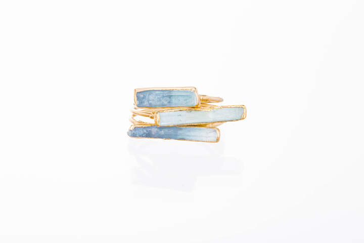Etsy Three Stacking Rings, Raw Aquamarine Rings for Women, Raw Stone Rings, Statement Rings, Gold Rings,