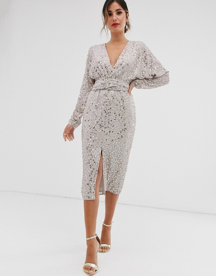 Asos Design ASOS DESIGN midi dress with batwing sleeve and wrap waist in scatter sequin-Gold