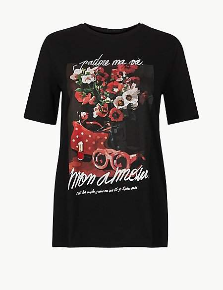 M&S Collection Pure Cotton Mon Amour Straight Fit T-Shirt