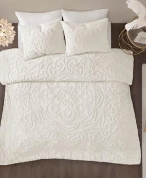 laetitia full queen 3 piece cotton chenille medallion comforter set bedding