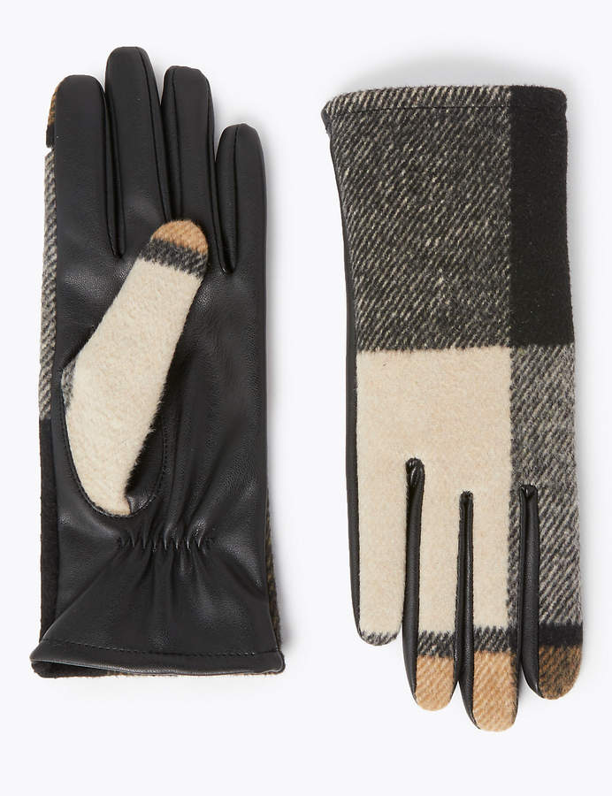 M&S CollectionMarks and Spencer Checked Gloves