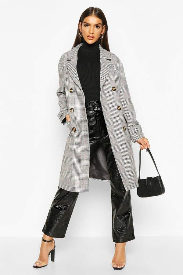 flannel Double Breasted Wool Look Coat