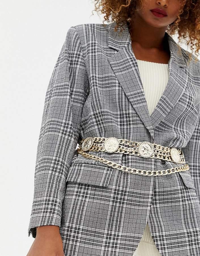 ASOS DESIGN coin multi chain waist and hip belt