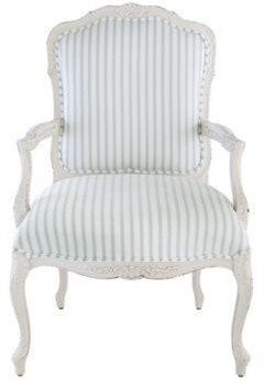 Limited Edition Louis Salon Chair in Parker Stripe Spa Gray with White Finish