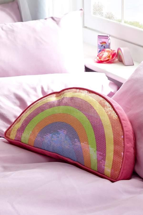 Next Sequin Rainbow Cushion - Purple