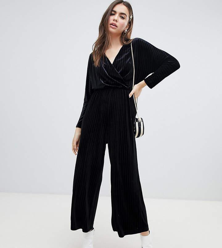 Monki velvet wrap front jumpsuit in black stripe