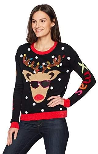Blizzard Bay Women's Light Up Reindeer Crew Neck Christmas Sweater