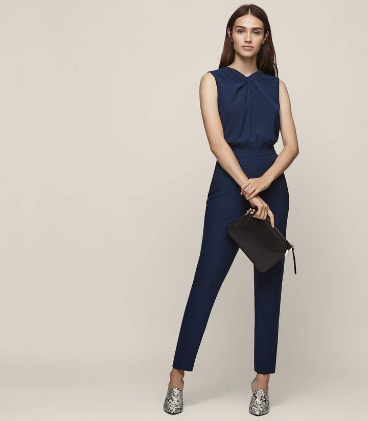 REISS Leoni - Twist-front Jumpsuit in Ink