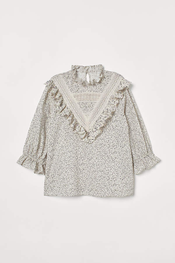 H&M - Ruffled Cotton Blouse - White