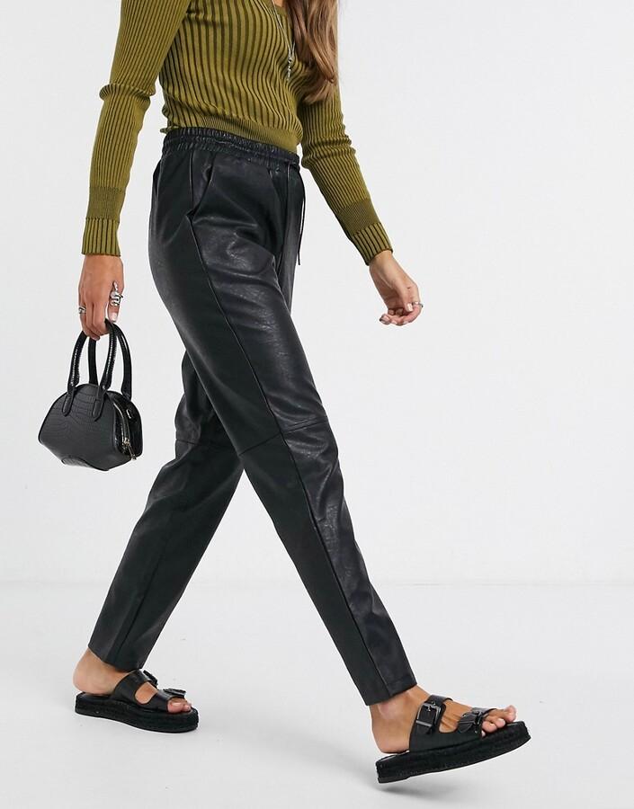 Vila faux leather joggers in black