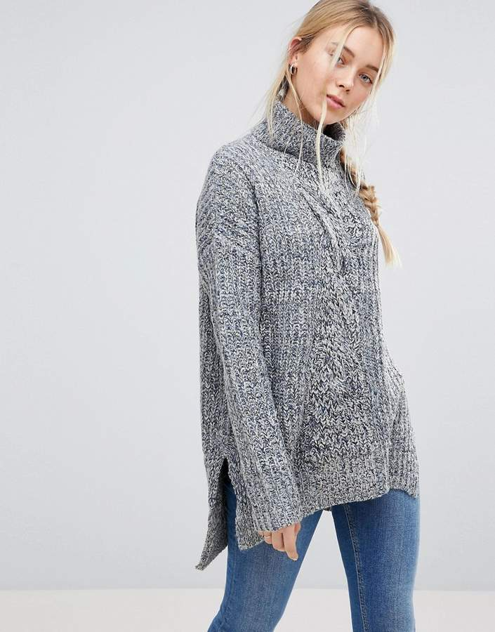 Qed London Chunky Knit Roll Neck Jumper