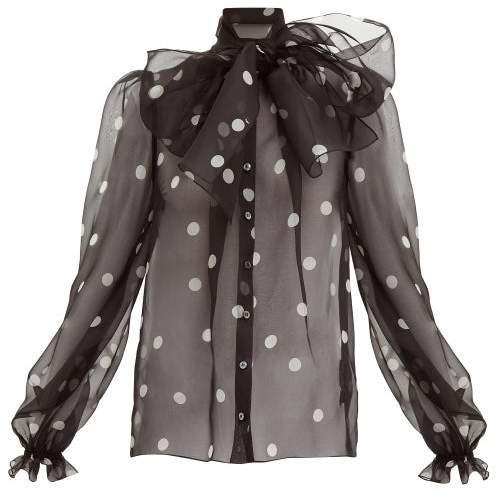 Dolce & Gabbana - Polka Dot-print Pussy-bow Organza Blouse - Womens - Black White