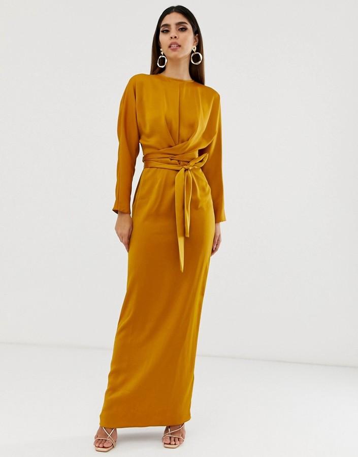 Asos Design ASOS DESIGN maxi dress with batwing sleeve and wrap waist in satin