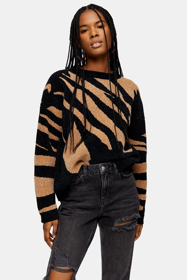 Topshop Womens Black Knitted Abstract Chenille Jumper - Black