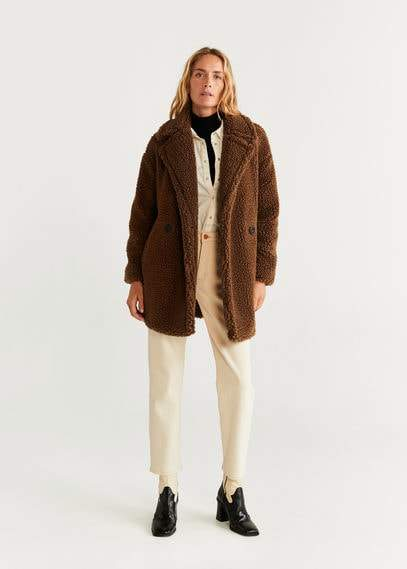 MANGO Double breasted faux shearling-lined coat