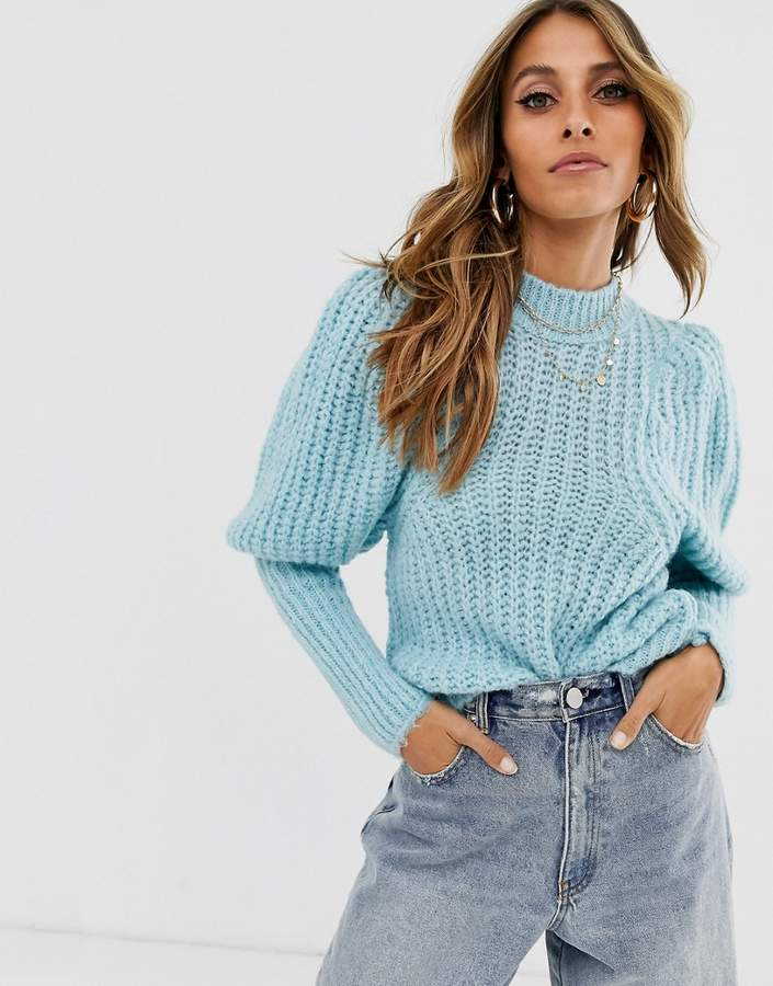 ASOS DESIGN chunky rib balloon sleeve jumper in lofty yarn