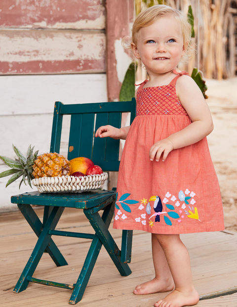 Flowery Smocked Woven Dress - Tropical Coral Chambray
