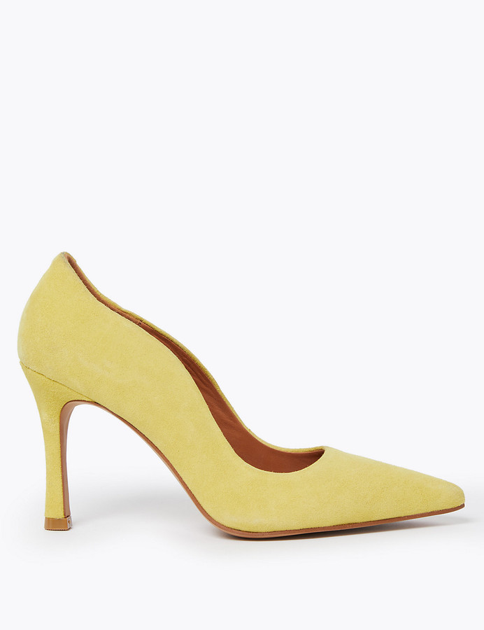 Autograph UsMarks and Spencer Suede Curved Side Stiletto Court Shoes