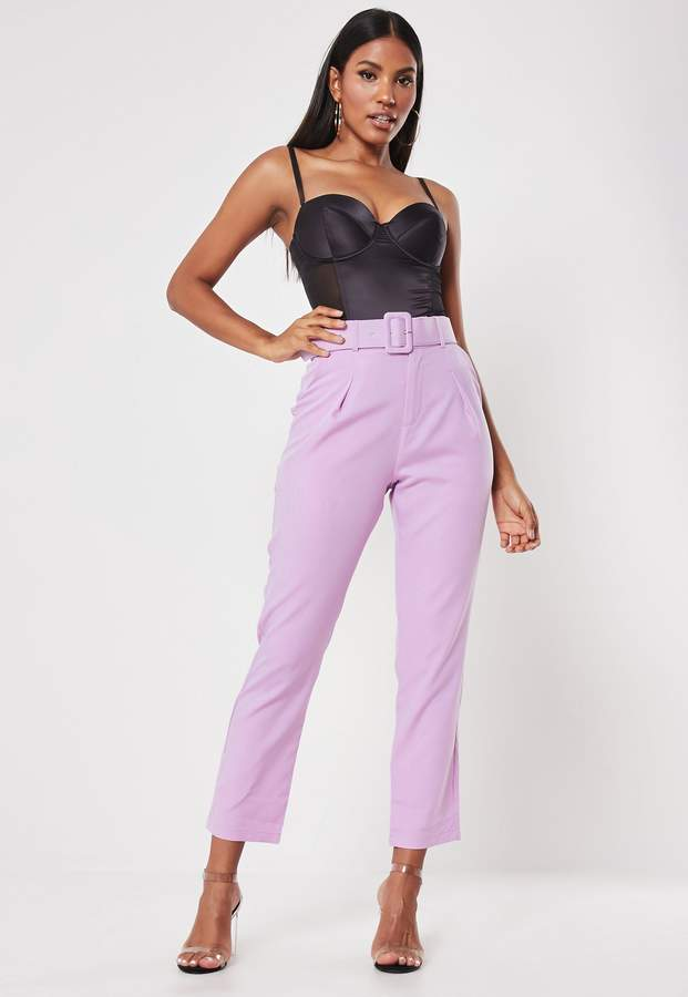 Missguided Lilac Square Buckle Belted Cigarette Trousers