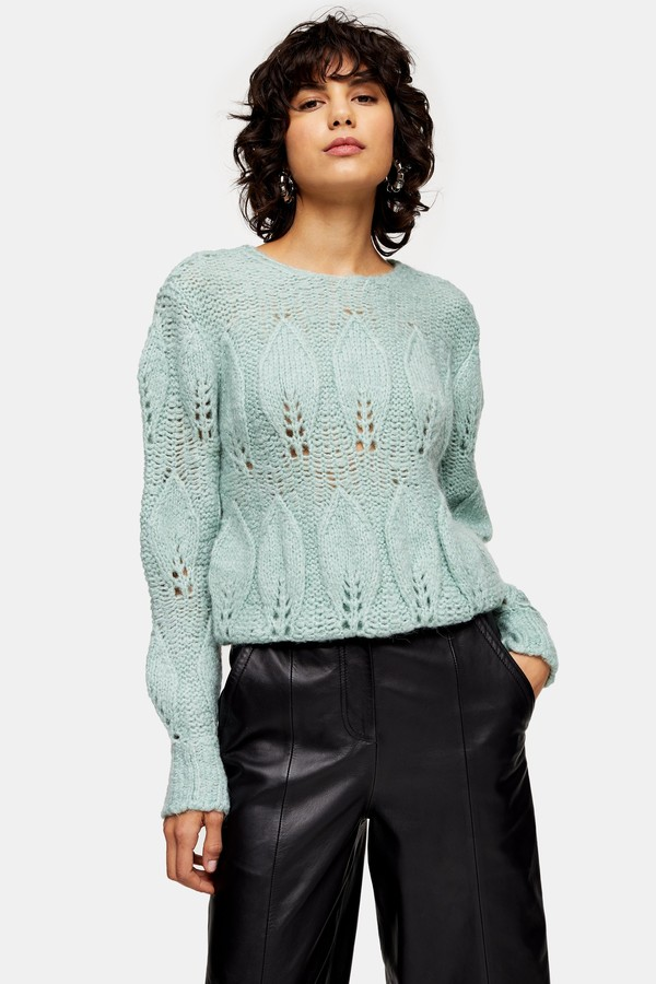 Topshop Womens Mint Knitted Petal Gauzy Jumper - Mint