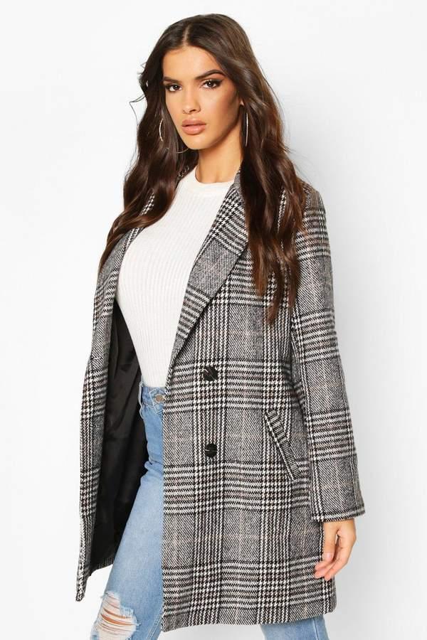 Boohoo flannel Oversized Boyfriend Wool Look Coat