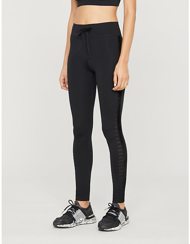 Velvet-tape high-rise stretch-jersey leggings